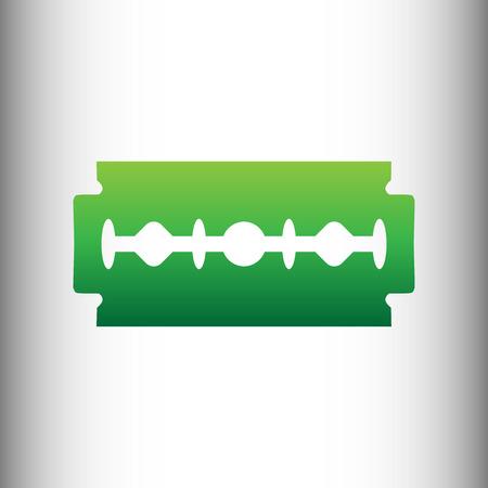 blade: Razor blade sign. Green gradient icon on gray gradient backround.