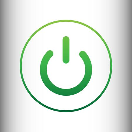 electrical part: On Off switch sign. Green gradient icon on gray gradient backround. Illustration