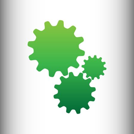 wheel change: Settings sign. Green gradient icon on gray gradient backround.