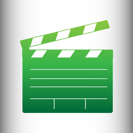 flick: Film clap board cinema sign. Green gradient icon on gray gradient backround. Illustration