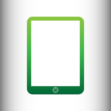 touch sensitive: Computer tablet sign. Green gradient icon on gray gradient backround.