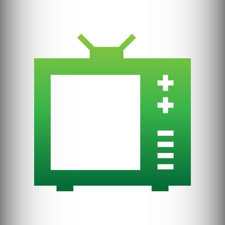 tvset: TV sign. Green gradient icon on gray gradient backround.