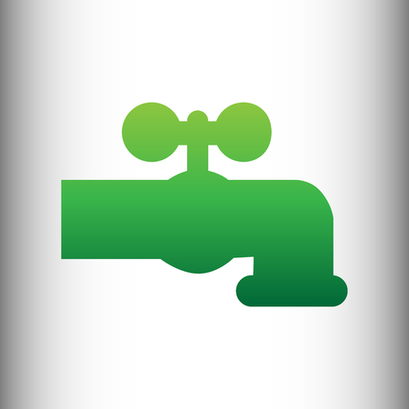 spew: Water faucet sign. Green gradient icon on gray gradient backround.