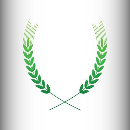 green wheat: Wheat sign. Green gradient icon on gray gradient backround. Illustration