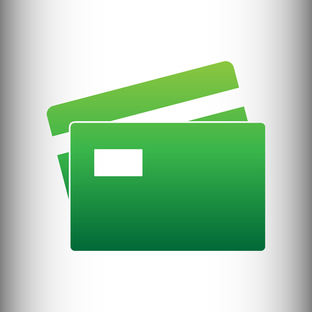 transact: Credit Card sign. Green gradient icon on gray gradient backround.
