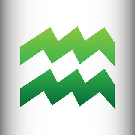 ecliptic: Aquarius sign. Green gradient icon on gray gradient backround.