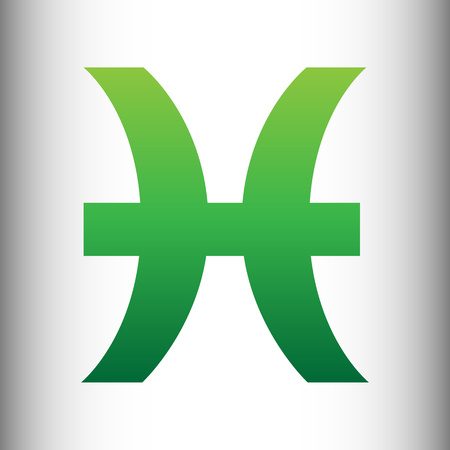 ecliptic: Pisces sign. Green gradient icon on gray gradient backround.