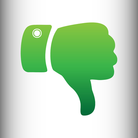 disapprove: Hand sign. Green gradient icon on gray gradient backround. Illustration