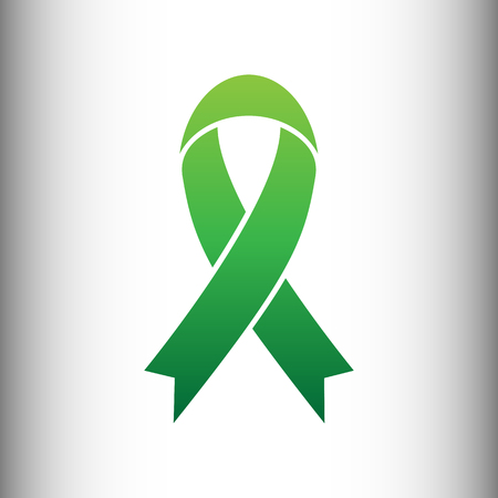 substance abuse awareness: Black awareness ribbon sign. Green gradient icon on gray gradient backround.