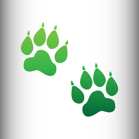 animal tracks: Animal Tracks sign. Green gradient icon on gray gradient backround. Vectores