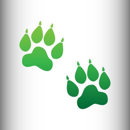 huellas de animales: Pistas animales firman. gradiente icono verde en antecedentes gris degradado.