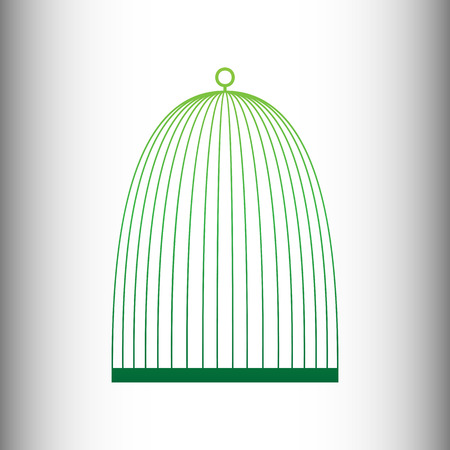 captivity: Bird cage sign. Green gradient icon on gray gradient backround. Illustration