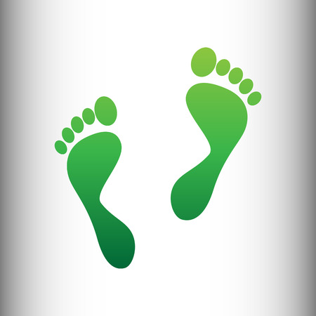 imprints: Foot prints sign. Green gradient icon on gray gradient backround. Illustration
