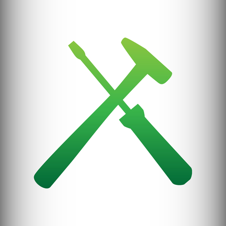 reconditioning: Tools sign. Green gradient icon on gray gradient backround.