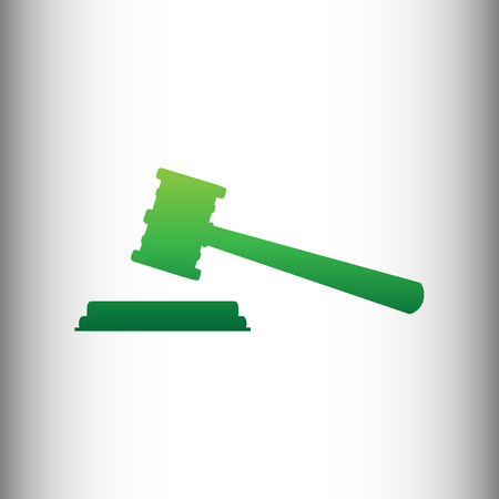 auctioneer: Justice hammer sign. Green gradient icon on gray gradient backround.