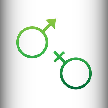 sex symbol: Sex symbol sign. Green gradient icon on gray gradient backround.