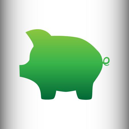 dolar: Cerdo signo banco de dinero. gradiente icono verde en antecedentes gris degradado.