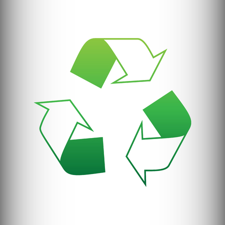 recycle logo: Recycle logo concept. Green gradient icon on gray gradient backround.