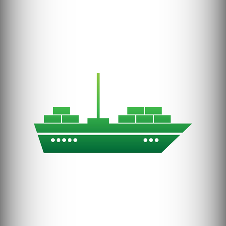 inflate boat: Ship sign. Green gradient icon on gray gradient backround.