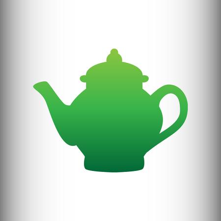 sign maker: Tea maker sign. Green gradient icon on gray gradient backround. Illustration