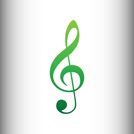 gclef: Music violin clef sign. G-clef. Treble clef. Green gradient icon on gray gradient backround.