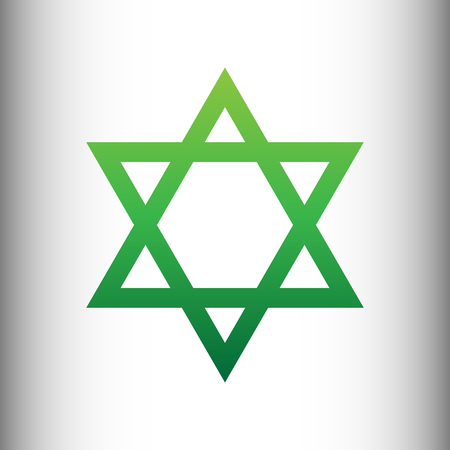 magen david: Star. Shield Magen David. Symbol of Israel. Green gradient icon on gray gradient backround. Illustration