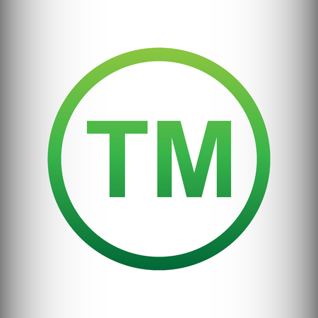 limitation: Trade mark sign. Green gradient icon on gray gradient backround. Illustration
