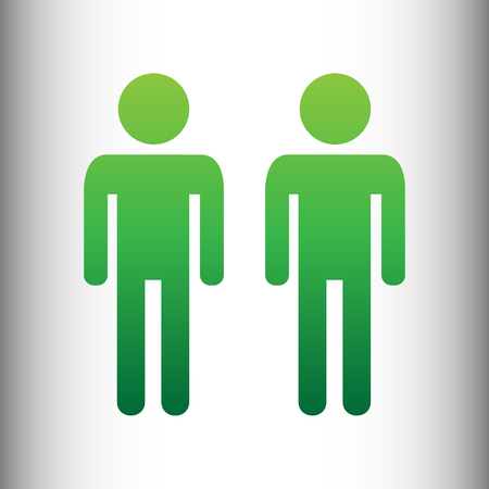 gay family: Gay family sign. Green gradient icon on gray gradient backround. Illustration
