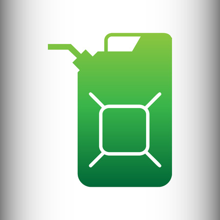 jerry: Jerrycan oil sign. Jerry can oil sign. Green gradient icon on gray gradient backround.