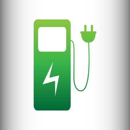 zero emission: Electric car charging station sign. Green gradient icon on gray gradient backround.