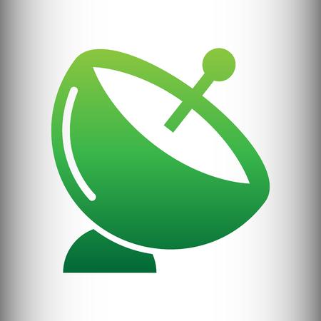 transmitting: Satellite dish sign. Green gradient icon on gray gradient backround.