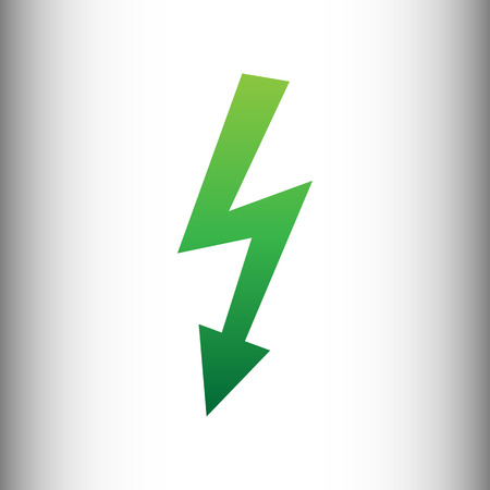 volte: High voltage danger sign. Green gradient icon on gray gradient backround. Illustration