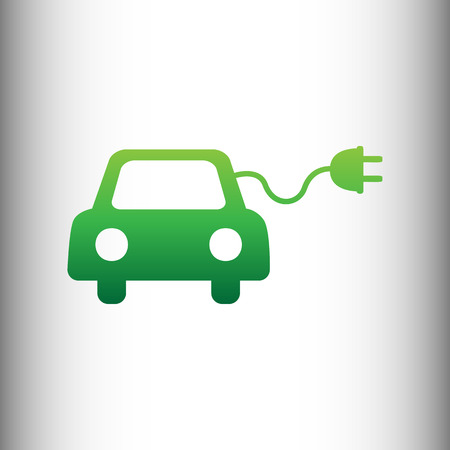 automobile industry: Eco electric car sign. Green gradient icon on gray gradient backround.