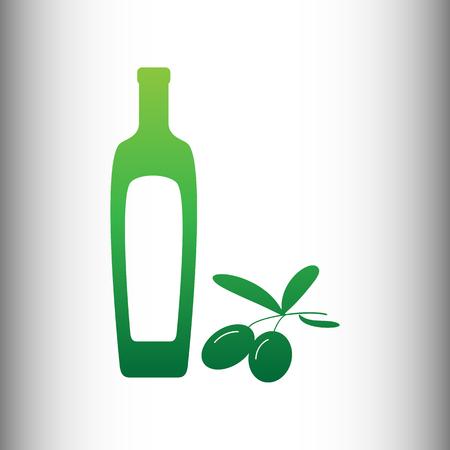 salad dressing: Black olives branch with olive oil bottle sign. Green gradient icon on gray gradient backround. Illustration