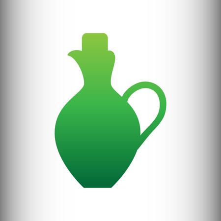 amphora: Amphora sign. Green gradient icon on gray gradient backround.