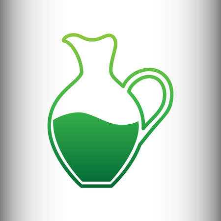 greek pot: Amphora sign. Green gradient icon on gray gradient backround.