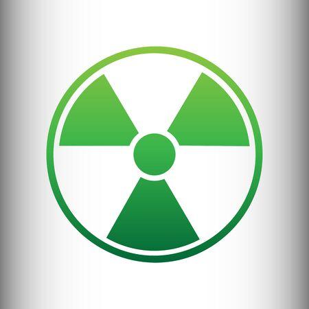 perilous: Radiation Round sign. Green gradient icon on gray gradient backround.