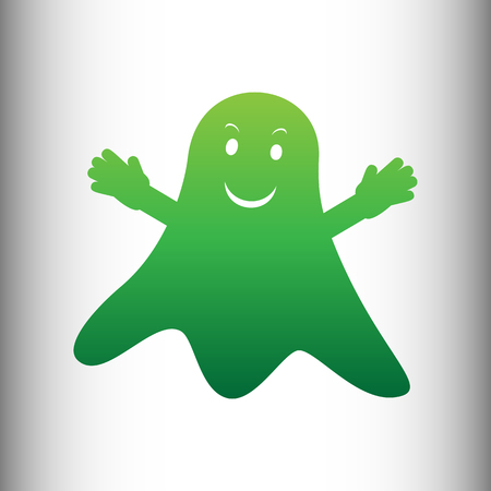poltergeist: Ghost isolated sign. Green gradient icon on gray gradient backround. Illustration