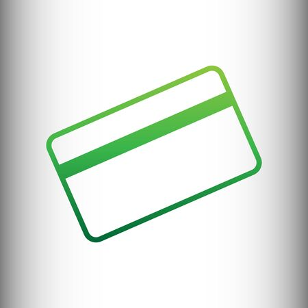 magnetic clip: Credit card symbol for download. Green gradient icon on gray gradient backround. Illustration