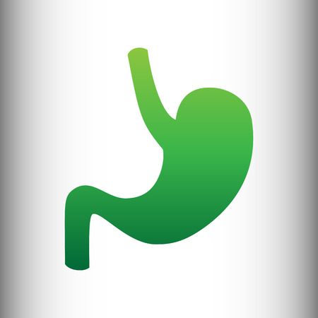 intestinal: Human anatomy. Stomach sign. Green gradient icon on gray gradient backround. Illustration