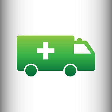 harm: Ambulance sign. Green gradient icon on gray gradient backround.