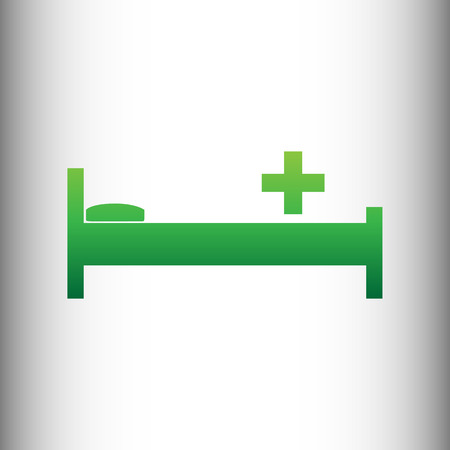 surgery stretcher: Hospital sign. Green gradient icon on gray gradient backround.