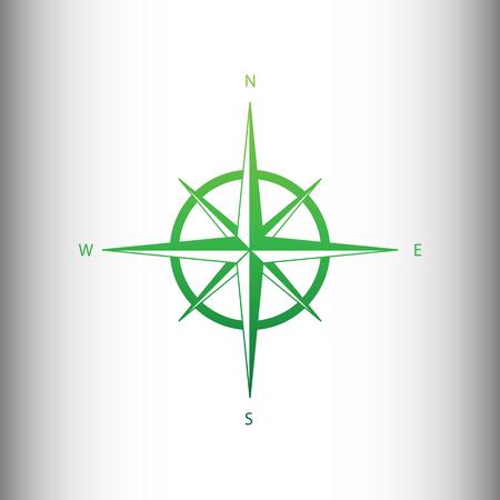 rosa vientos: El viento se levant� signo. gradiente icono verde en antecedentes gris degradado.