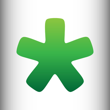 reference point: Asterisk star sign. Green gradient icon on gray gradient backround.