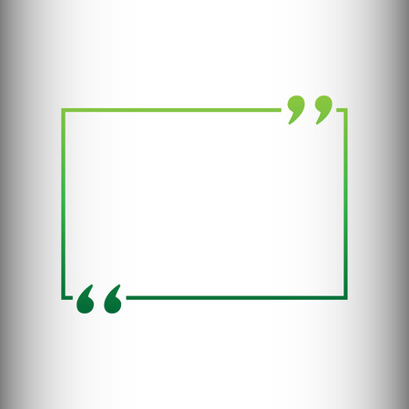 citing: Text quote sign. Green gradient icon on gray gradient backround.
