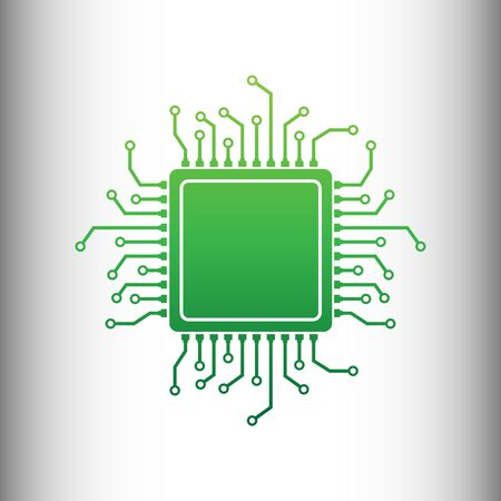 microelectronics: CPU Microprocessor. Green gradient icon on gray gradient backround.
