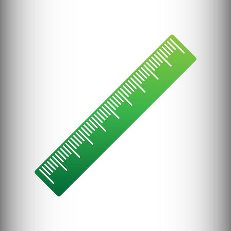 centimeter: Centimeter ruler sign. Green gradient icon on gray gradient backround.