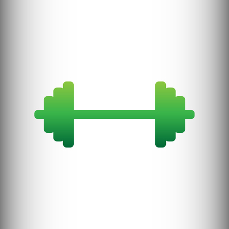 weights: Dumbbell weights sign. Green gradient icon on gray gradient backround.