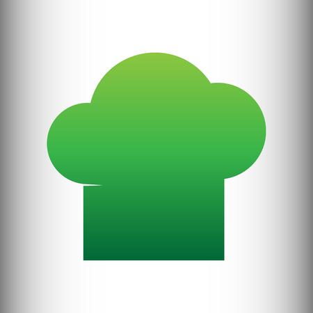 replaceable: Chef cap sign. Green gradient icon on gray gradient backround. Illustration