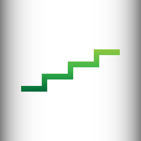 up stair: Stair up sign. Green gradient icon on gray gradient backround.